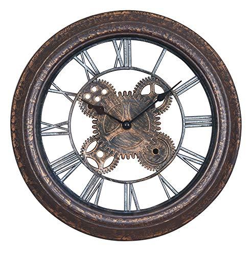 levandeo Wanduhr 30x30cm Zahnrad Schwarz Kupfer Shabby Chic Vintage Uhr Deko Industrial Wanddeko