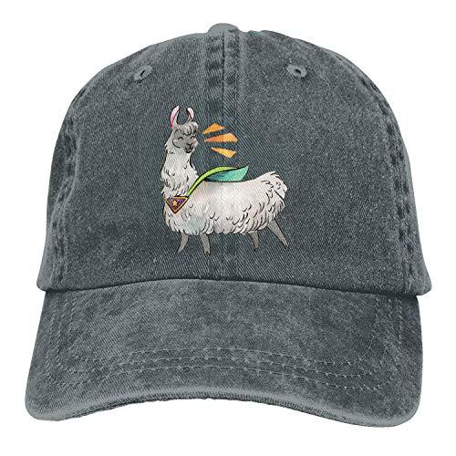 12345678 Gorra de Mezclilla de algodón Gorra de béisbol Llama Funny Six-Panel Ajustable Trucker Dad Hat, OneSize, Deepheather