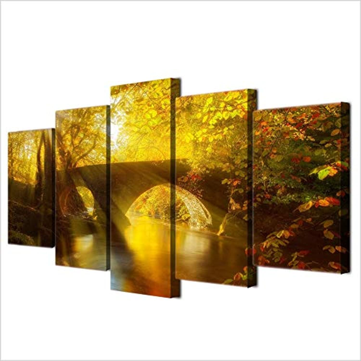 Canvas Painting Modern Art Live Wall 5 Pieces Sun Shining Bridge Autumn Landscape Decoration Picture Landscape Painting
