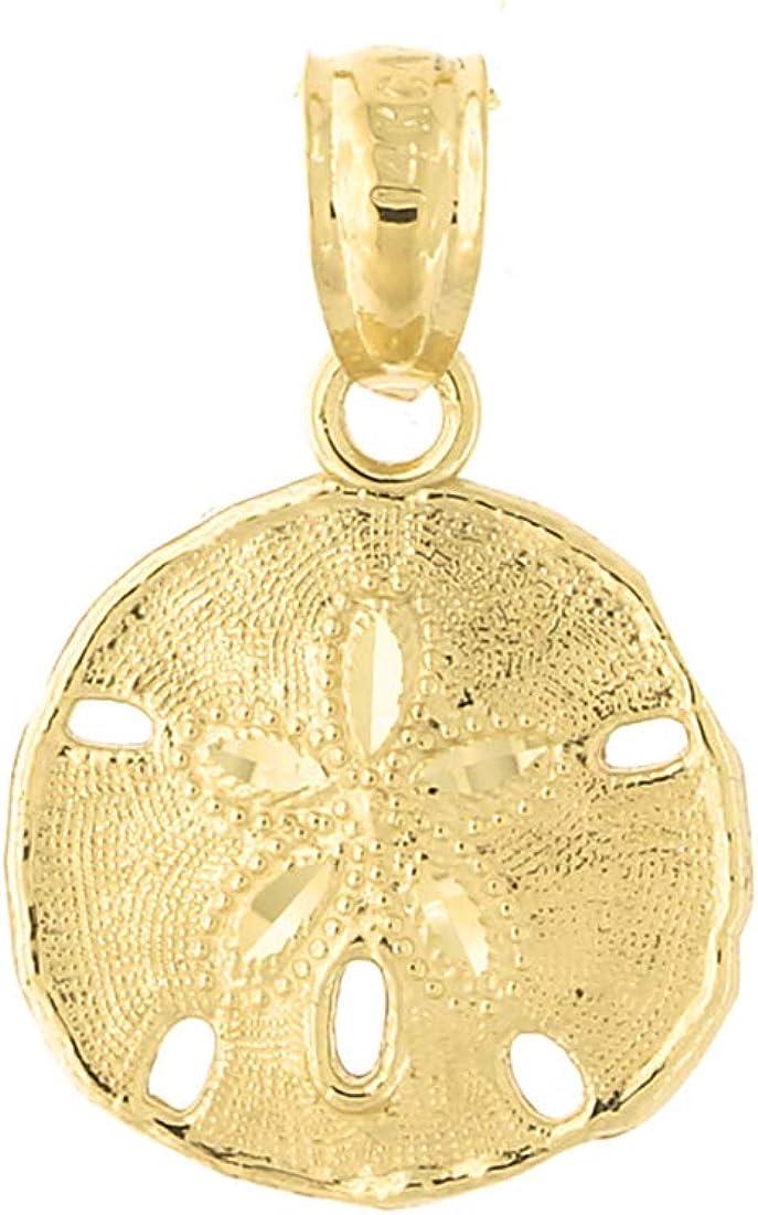 14k or Jaune Poli et Texturé Sand Dollar pendentif 20 mm x 12 mm 0.62 G