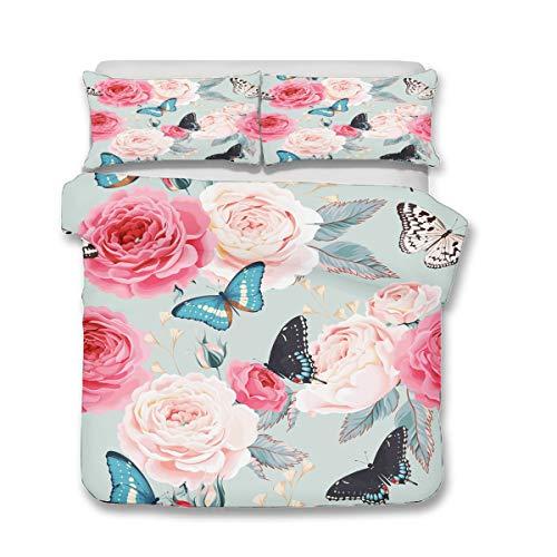 QWAS Juego de 3 piezas con flores suaves para cama de matrimonio: 135 x 200 cm, 140 x 210 cm, 200 x 200 cm (X02, 140 x 210 cm + 80 x 80 cm x2).