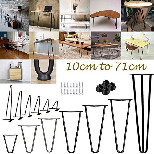 Haarnadel Tischbeine 35cm 14 Zoll, 4 Stück DIY Metall Möbelbeine Tischgestell mit Bodenschoner Und Schrauben für Esstisch Schreibtisch - Schwarz