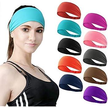 DASUTA Set of 10 Women's Workout Headband Non Slip Lightweight Multi Headbands Headscarf for Yoga Running Sports Travel Athletic Fitness Elastic Wicking fits All Women & Men