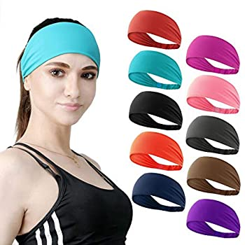DASUTA Set of 10 Women s Workout Headband Non Slip Lightweight Multi Headbands Headscarf for Yoga Running Sports Travel Athletic Fitness Elastic Wicking fits All Women & Men