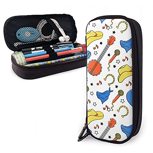 Country Instruments Micrófono Patrón de guitarra Estuche para lápices de cuero, gran capacidad, duradero, con cremallera, para bolígrafos, estuche para lápices, maquillaje, cosméticos
