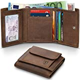 Wallets Mens RFID Blocking Genuine Oil Leather Tri-fold with Coin Pocket Purse & Credit Card Holder & Banknote Compartment, TEEHON Slim Minimalist Small Wallet for Man & Women with Gift Boxed-Brown