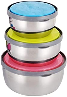 3PCS Stainless Steel Food Storage Container Refrigerator Sealed Cans Fresh Bowl With Leak Proof Silicone Cover Lunch Boxes (Color : A)