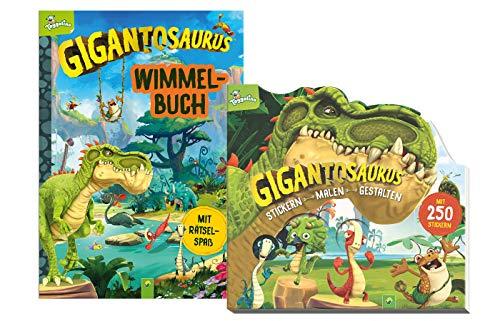 Schwager & Steinlein Verlag Gigantosaurus - Set: Wimmelbuch (Pappbilderbuch) +...