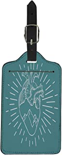 Semtomn Luggage Tag Blue Adventure Heart and Mountains Peaks Motivational Inspirational Aspiration Suitcase Baggage Label Travel Tag Labels