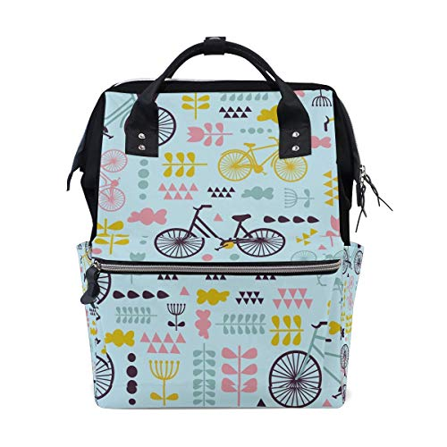 Cute Retro Bike Bicycle Diaper Bag Mom Dad Travel Backpack Multifunction Waterproof Canvas Large Capacity Baby Bag Maternity Nappy Bags For Baby Care