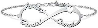 Personalized Infinity Name Bracelet 925 Sterling Silver Heart Bracelets for Couples