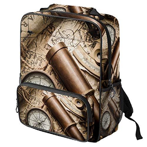TIZORAX - Mochila escolar para niñas y niños, diseño retro de brújula y telescopio en el mapa para mujer, mochila de viaje, casual, senderismo, acampada