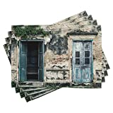 Ambesonne Rustic Place Mats Set of 4, Doors of Old Rock House with French Frame Details in Countryside European Past Theme, Washable Fabric Placemats for Dining Room Kitchen Table Decor, Teal Grey