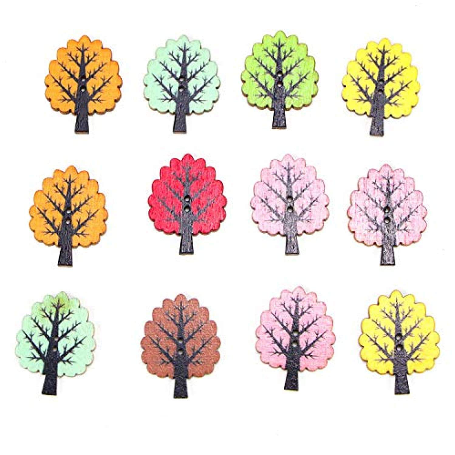 Monrocco 100Pcs Mixed Color Trees Wooden Buttons Sewing Button 2 Holes Buttons for DIY Craft Decoration Sewing Craft Scrapbooking