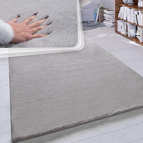 Paco Home Hochflor Teppich Wohnzimmer Kunstfell Super Soft Einfarbig in Versch. Größen und Farben, Grösse:160x230 cm, Farbe:Grau