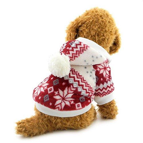 selmai Hundemantel/Hundejacke, Weihnachts-/Schneeflocken-Muster, mit Fleece gefüttert und mit Kapuze