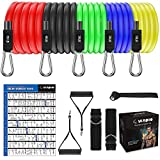 Exercise Resistance Bands Set, [2020 Newest] 5 Stackable Resistance rope with Door Anchor,2 Handles,2 Legs Ankle Straps,Waterproof Carry Bag, for Resistance Training, Fitness,Home Workouts 150 lbs