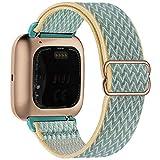 Fengyiyuda Elástico Nylon Correa de Reloj Compatible con Fitbit Versa 2/Versa/Versa Lite/Versa SE,Bandas Suaves para Relojes Inteligentes, Seporte Hebillas Ajustables,correas de repuesto,Sunshine
