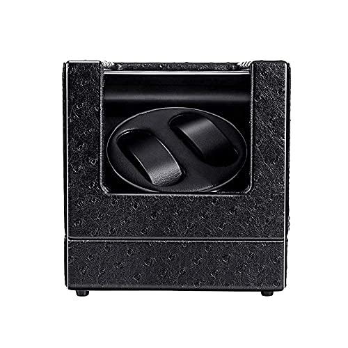 Caja enrolladora de reloj automática 2 + 0, caja de reloj con patrón de avestruz con motor silencioso de Japón, alimentada por batería o adaptador de CA adecuado para el interior del reloj de damas y