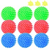 9 Pack Reusable Laundry Dryer Balls,Fabric Softener Alternative Washer Balls,2.5 inch Anti-Static Rubber Ball for Washing Machine,3 Blue&3 Green&3 Red