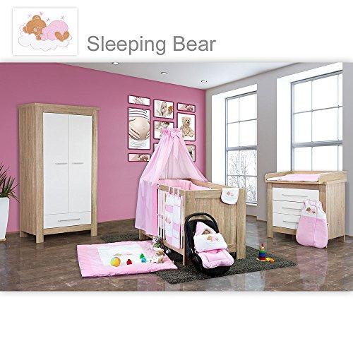 Babyzimmer Enni 21-tlg. in der Farbe Sonoma/Weiß mit 2 türigem Kl. + Textilien Sleeping Bear, Rosa