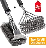 BBQ Grill Brush Set of 2, Safe Grill Cleaning Brush Stainless Steel Bristle Free with Scraper for...