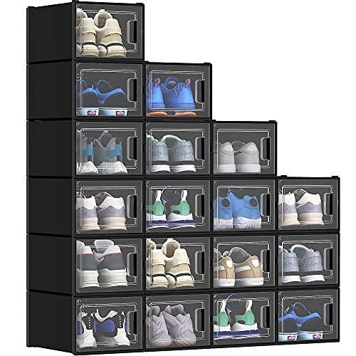 YITAHOME Shoe Storage Box-Medium Size, 18 PCS Shoe Storage Organizers Stackable Shoe Storage Box Rack Containers Drawers - Black (Medium Size)