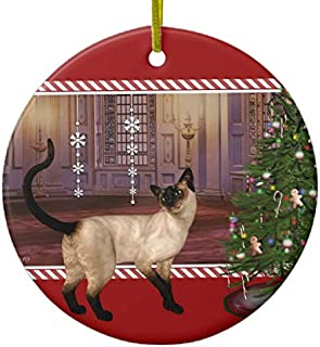 Lplpol Siamese Cat Round Christmas Xmas Trees Home Ceramic Ornaments Porcelain Ornament Personalize