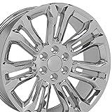 OE Wheels LLC 22 Inch Fit Chevy Silverado Tahoe GMC Sierra Yukon Cadillac Escalade CV43 Chrome 22x9 Rims Hollander 5666 SET