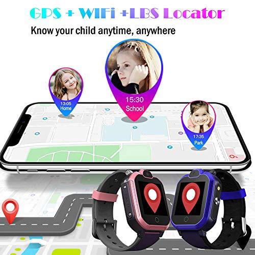 PTHTECHUS Kinder Smartwatch Wasserdicht IPX7, unterstützt 4G GPS Präzise Positionierung Tracker, mit SOS, Videoanruf, Voice Chat, Anruf, Remote-Fotografie, GEO-Zaun(Blau)