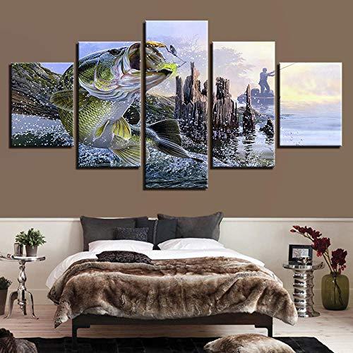 Leinwanddrucke,5 Stück Anime Angler Großer Fisch Essen Köder Leinwanddruck Modular Poster Bild Kunstwerk Schlafzimmer Wanddekoration (Kein Rahmen) Größe M
