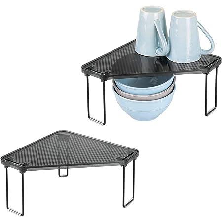 mDesign étagère cuisine (lot de 2) – rangement cuisine pour plans de travail et armoire – range vaisselle optimisant l'espace dans la cuisine au maximum – noir/gris fumé