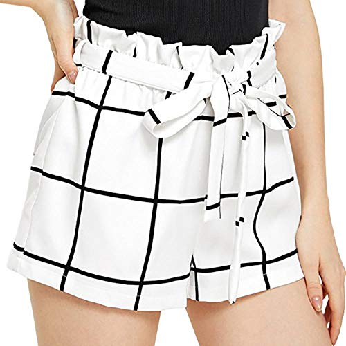 JKFXMN Mujeres Plaid Mid Loose Waist Hot Shorts Pantalones Jersey Walking Short Mujer Pantalones Cortos De Mezclilla Ladies High Waist, White, L