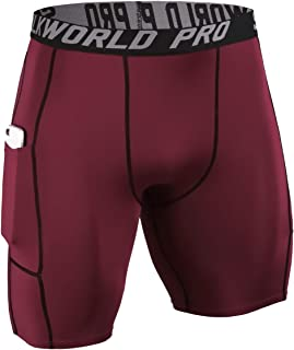 Men's Compression Shorts Pockets Sports Running Tight