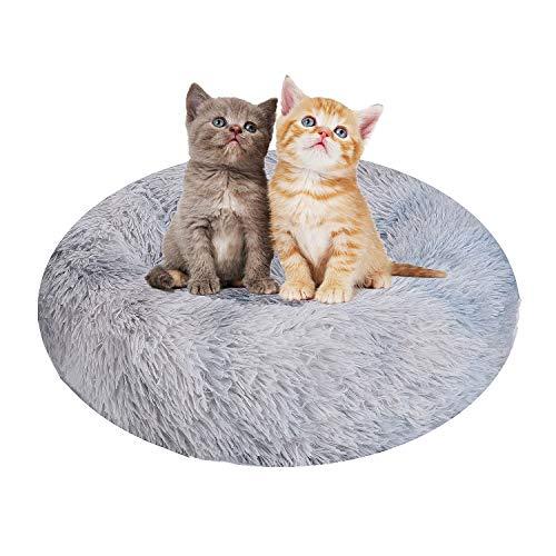 Cama para gatos de lujo, para gatos y perros pequeños y medianos, fácil de limpiar, cama de 50 cm para mascotas en forma de Doughnut, para gatos (gris claro)