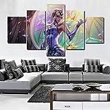 MYJXKLImpresión de la lona dePinturas Arte de la pared Lienzo 5 Panel League Of Legends Juego Picture Posters Marco para la sala de estar Decoración del hogar