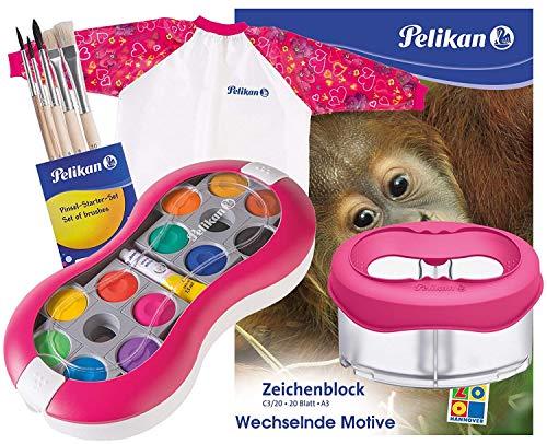 Pelikan Deckfarbkasten Space+ 735 SP/12 mit 12 Farben und 1 Tube Deckweiß (Magenta Komplett-Set)