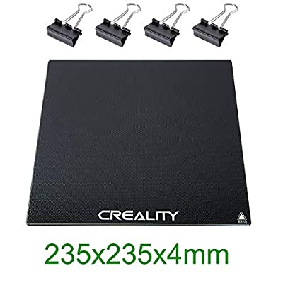 Upgraded Creality 3D Printer Platforms, ENDER 3 Glass Bed, Tempered Glass Heated Bed Glass Plate Panel Build Surface Build Plate for Ender 3 Ender 3Pro Ender 5 Ender 5Pro Hot Bed, 235x235x4mm