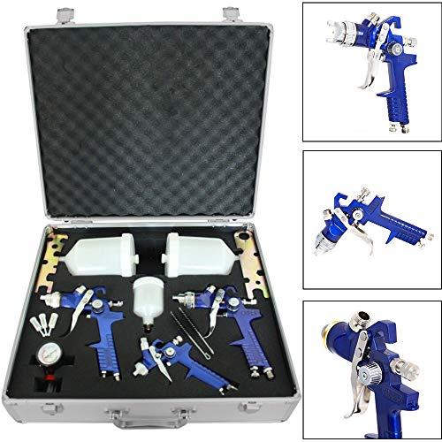 MorNon 3X HVLP Spraypistole Lackierpistole Set Druckminderer Koffer Spritzpistole Luft für Autolack und Airbrush
