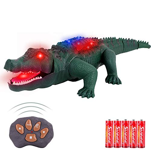 FiGoal Remote Control Crocodile with LED Lights, Walking, and Roaring, Realistic Alligator Toy with Lights, Sound and Movements Gift for Kids and Toddlers