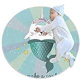 PLOKIJ Alfombra de círculo para niños, utilizada en la habitación familiar, sala de estar, sala de juegos, decoración de suelo, linda sirena de dibujos animados, gato unicornio