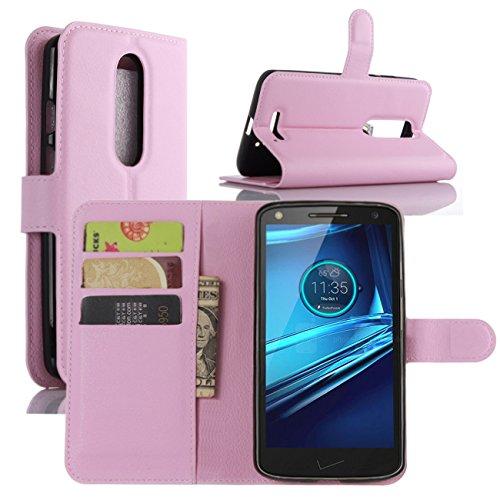 HualuBro Moto X Force Hülle, [All Aro& Schutz] Premium PU Leder Leather Wallet HandyHülle Tasche Schutzhülle Flip Hülle Cover für Motorola Moto X Force Smartphone (Pink)