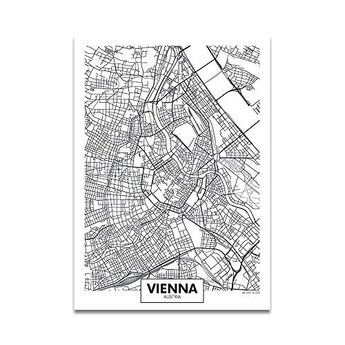 Einfaches Plakat Europa Hauptstadt Moderne Weltstadtplan Paris London Verkehrswege Straße Druck Leinwand Malerei Wandkunst Wohnkultur 60 * 80cm