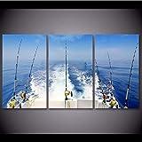 FANGYUAN Leinwand 3 Stück Ozean Meer Angelrute Malerei Wandkunst Bilder Für Zuhause Angelrute...