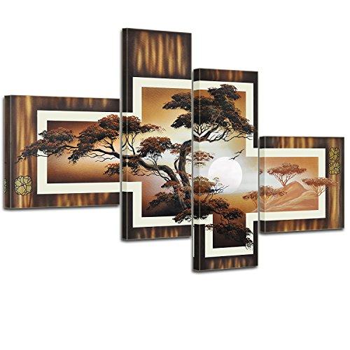 Bilderdepot24 Bild auf Leinwand | African Savannah M1 - in 100x70 cm 4 TLG. als Wandbild | Wand-deko Dekoration Wohnung modern Bilder | P203