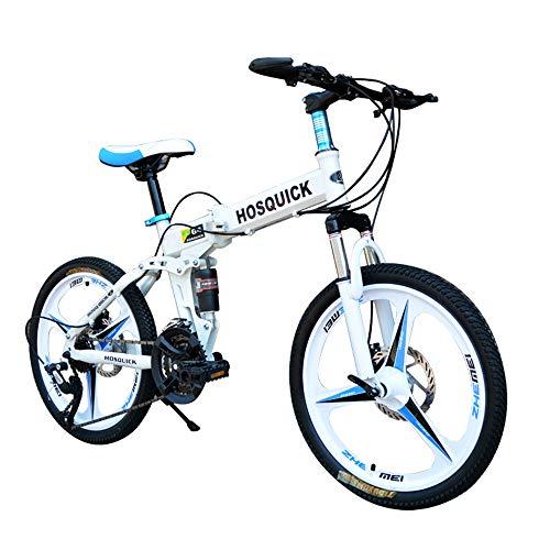 "Poooooi Bicicleta De Montaña Plegable Bicicleta De Montaña 20 Pulgadas Velocidad Variable Hombres Y Mujeres Niños Doble Absorción De Choque Freno De Disco Bicicleta Todoterreno Plegable,20"",21 Speed"