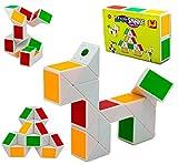 Gifton - Magic Snake Cube Puzzle Twisty Ruler - Novelty 2020 Design - Gift for Boy Girl Kids - Educational Developmental Learning 3D Construction Brain Teaser Toy - Great Stocking Filler (1 Pack)