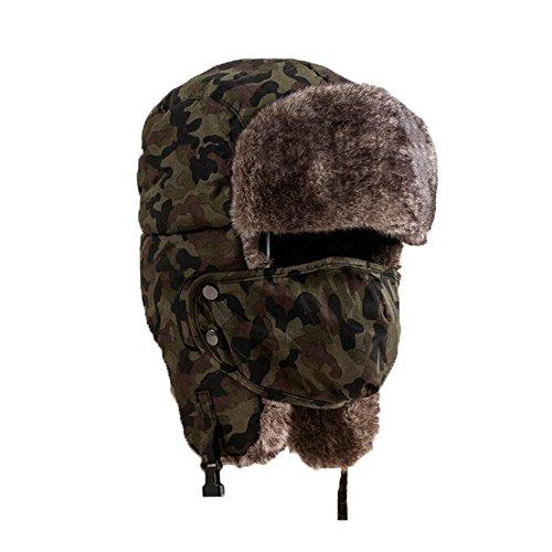 Sombrero grueso de invierno máscara unisex de camuflaje cálido a pru