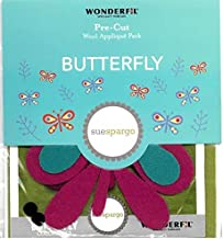 Wonderfil Sue Spargo Pre-Cut Wool Applique Pack, Butterfly - Colorway 2 (Lime Background)