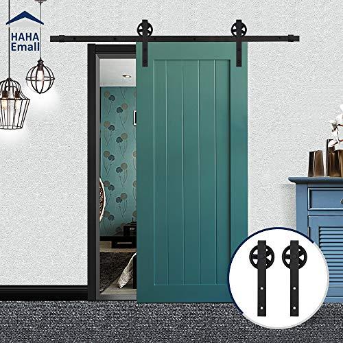 Hahaemall, puleggia di colore nero in acciaio con grandi ruote, per singola porta scorrevole con rotaia, set da camera con binario piatto